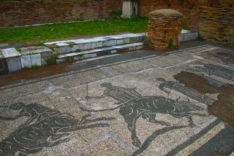 Italy, Ostia Antica, Amphitheatre Mosaics