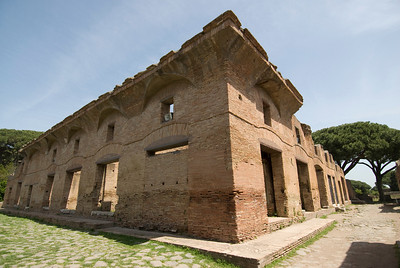 Remains of an apartment block in Ostia Antica, Italy
