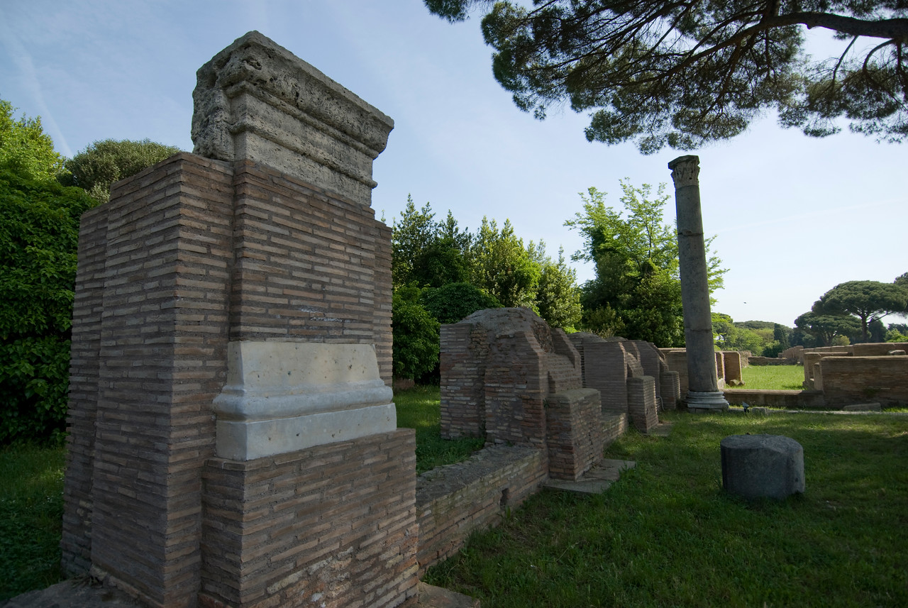 Remains and pillars at Ostia Antica, Italy