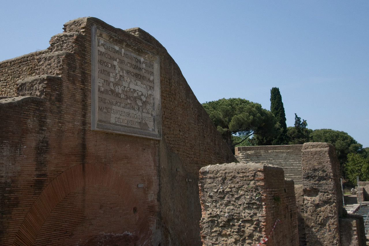 Ruins of old structure at Ostia Antica, Italy