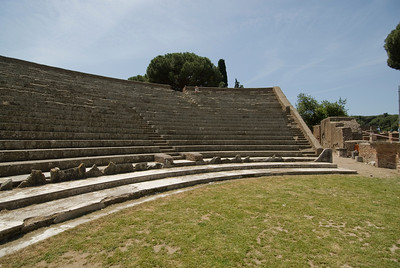 Stairs at the old theatre in Ostia Antica, Italy