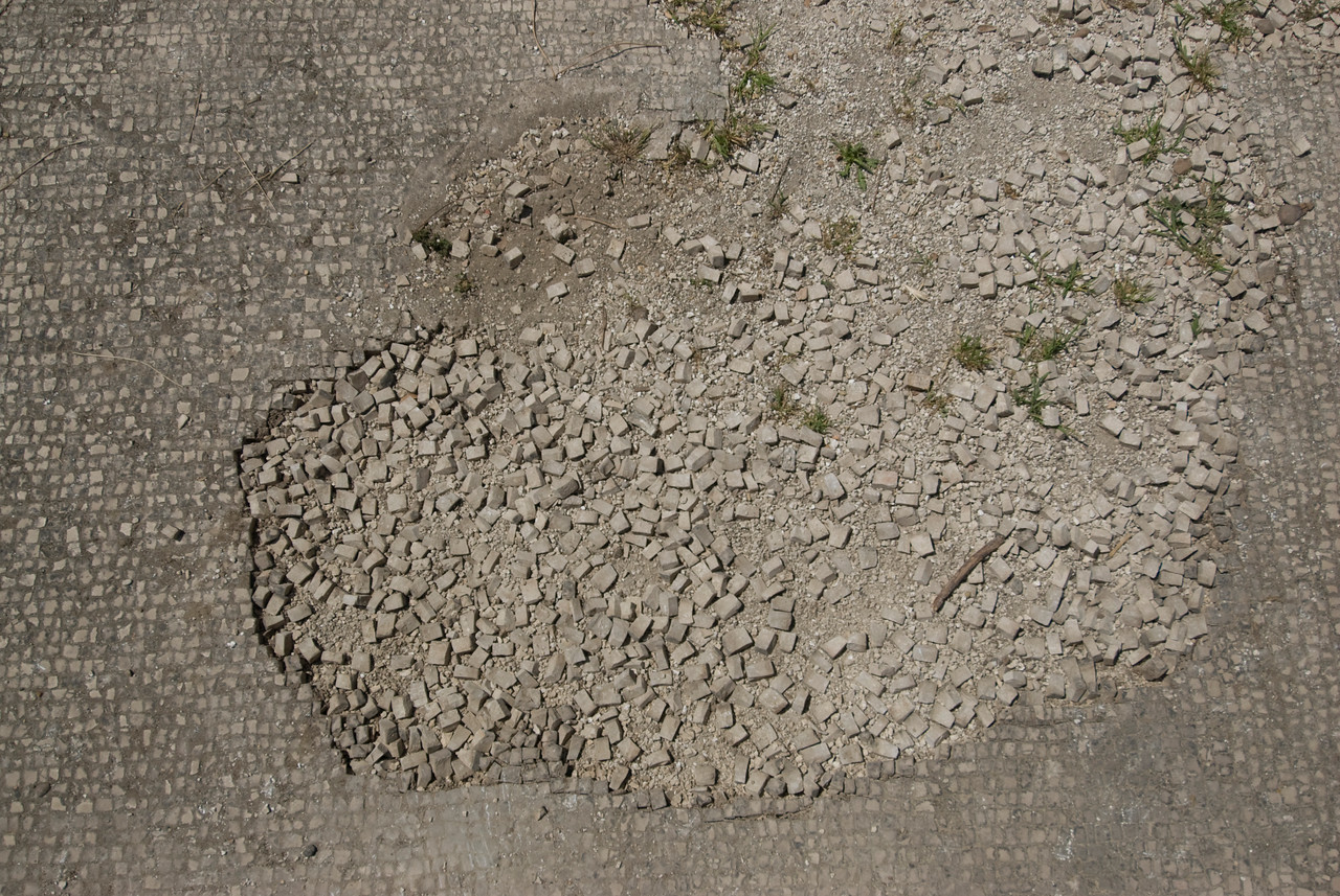 Broken mosaic floor in Ostia Antica, Italy