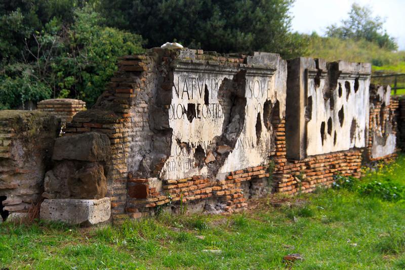 Italy, Ostia Antica, Inscription originally placed on the main gate