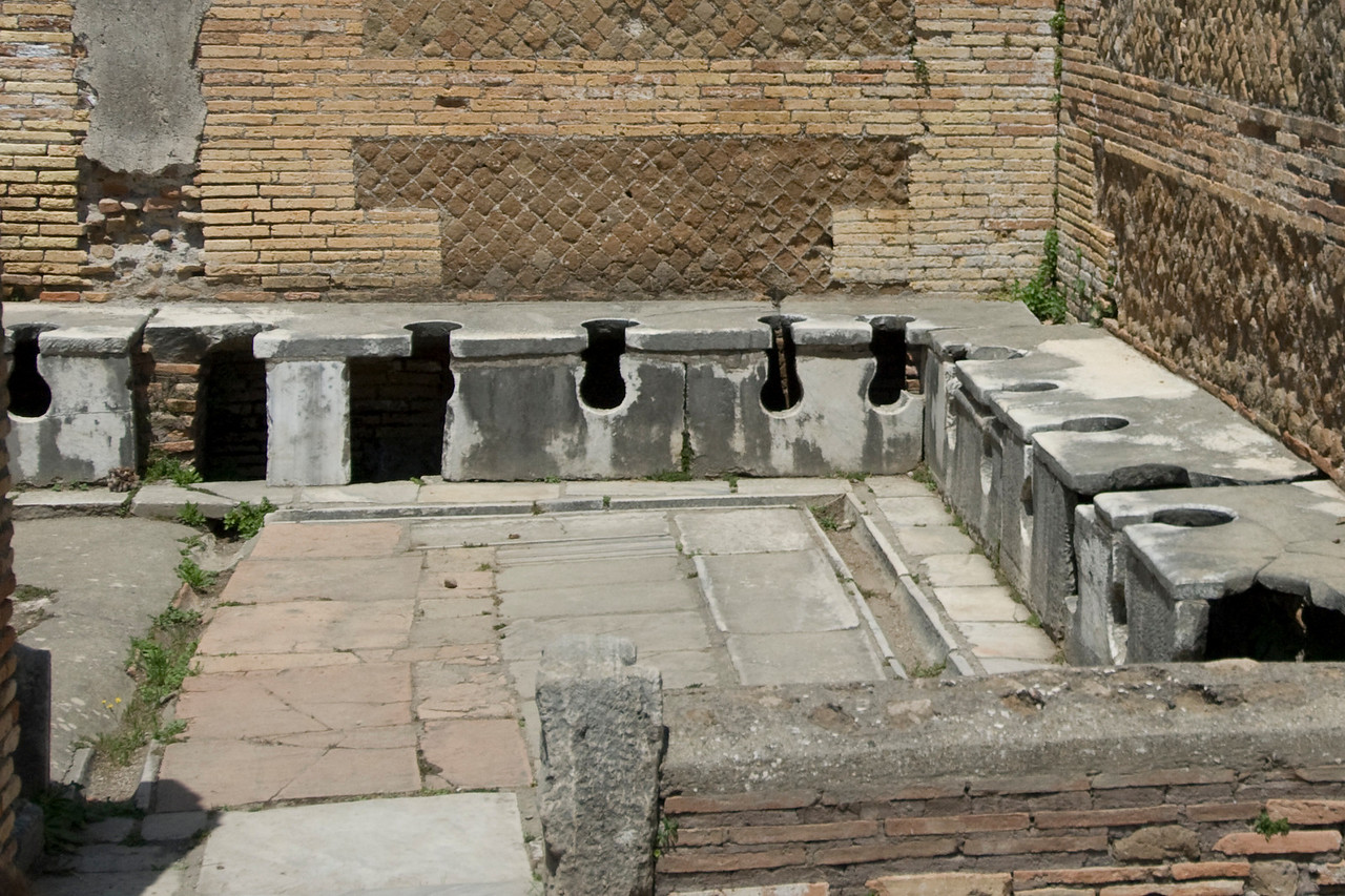 Public latrinae in Ostia Antica in Italy