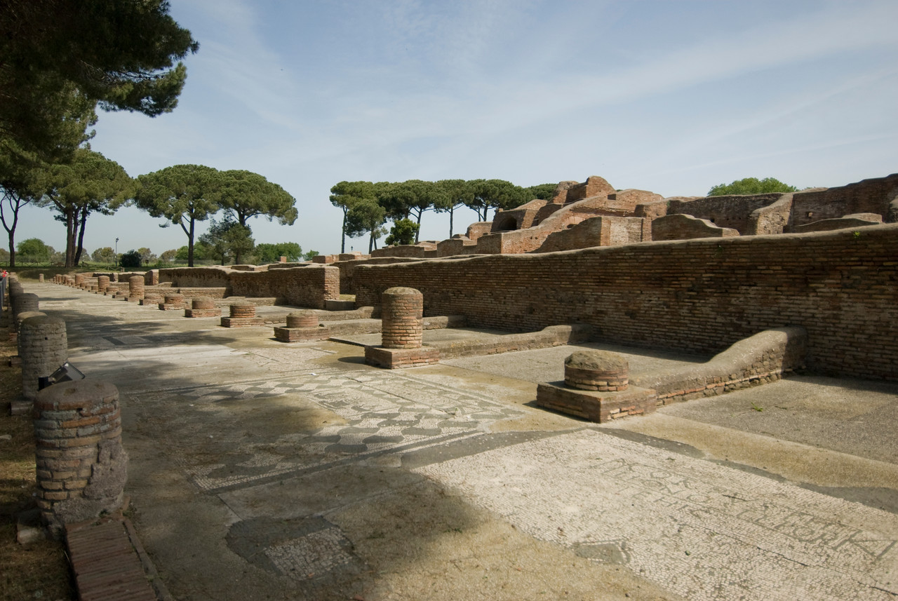 Mosaic floor and ruins at Ostia Antica, Italy