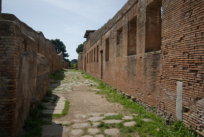 Remains of an apartment block at Ostia Antica, Italy