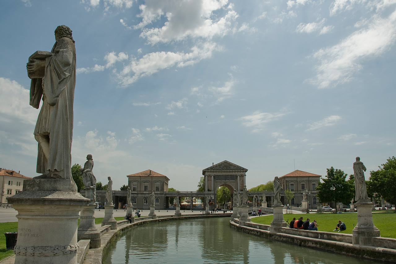 Canal with a view to Gate to Piazza Isaac Rabin in Prato della Valle - Padua, Italy