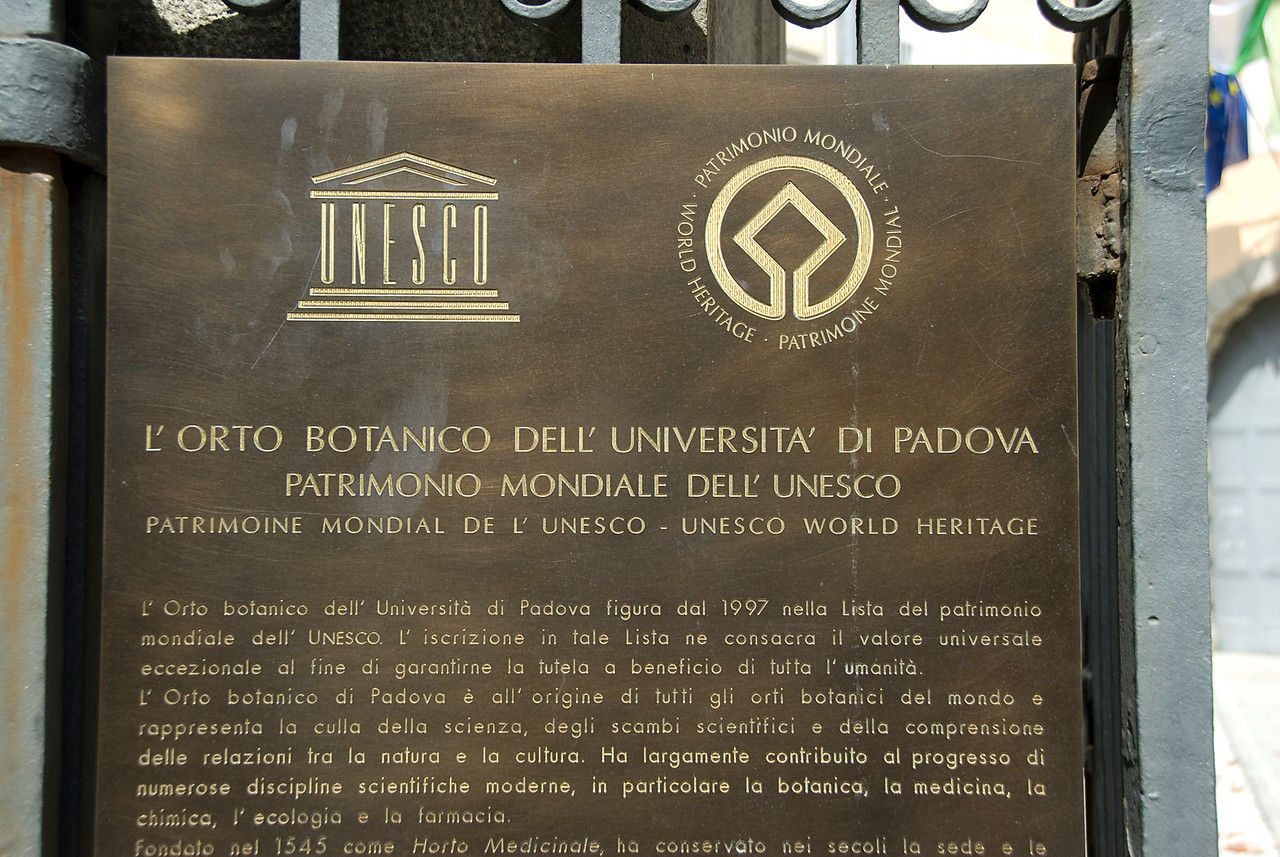 UNESCO World Heritage sign  at L'Orto botanico di Padova - Padua, Italy