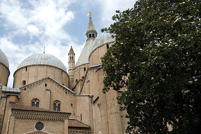 Closer shot of domes and towers at Basilica of Saint Anthony of Padua - Italy