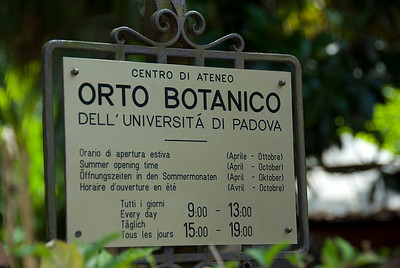 Entrance sign at Orto botanico di Padova in Padua, Italy