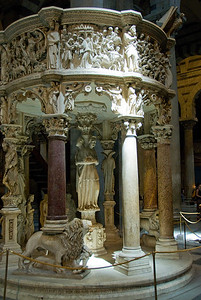 Elaborate sculpture at the pulpit inside the Cathedral of Pisa - Italy