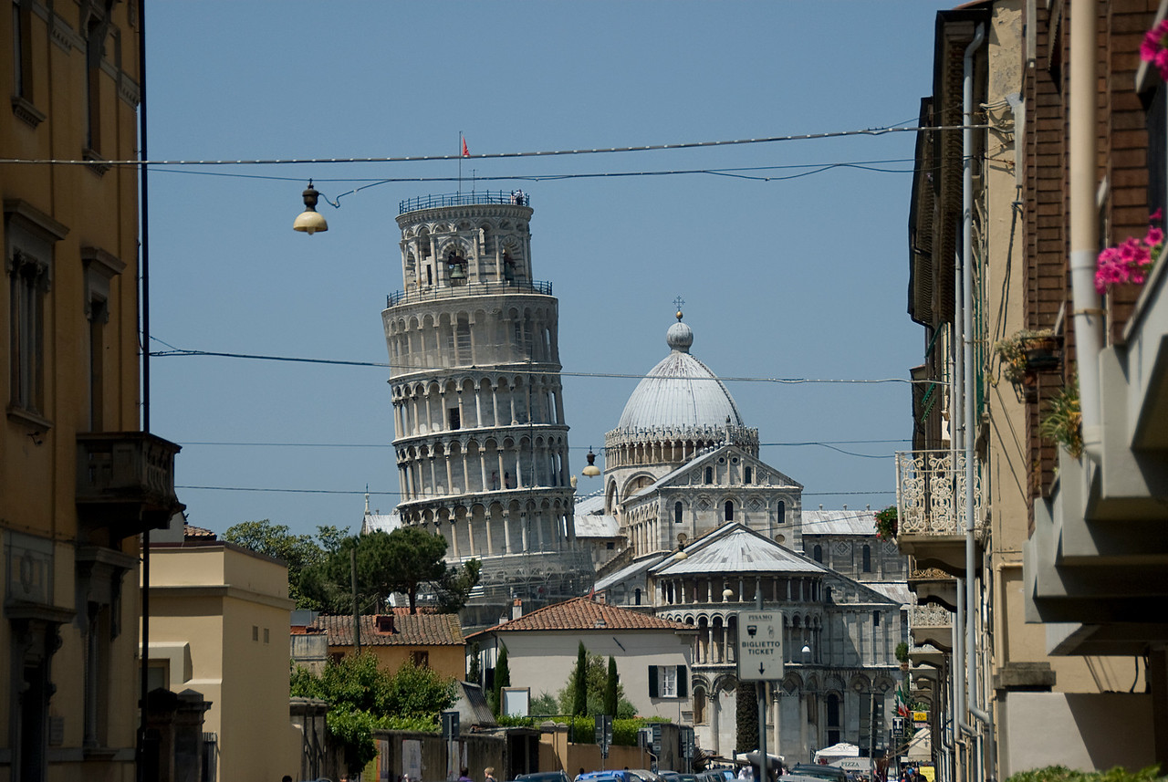 View of the Leaning Tower of Pisa and Pisa Cathedral Dome - Italy