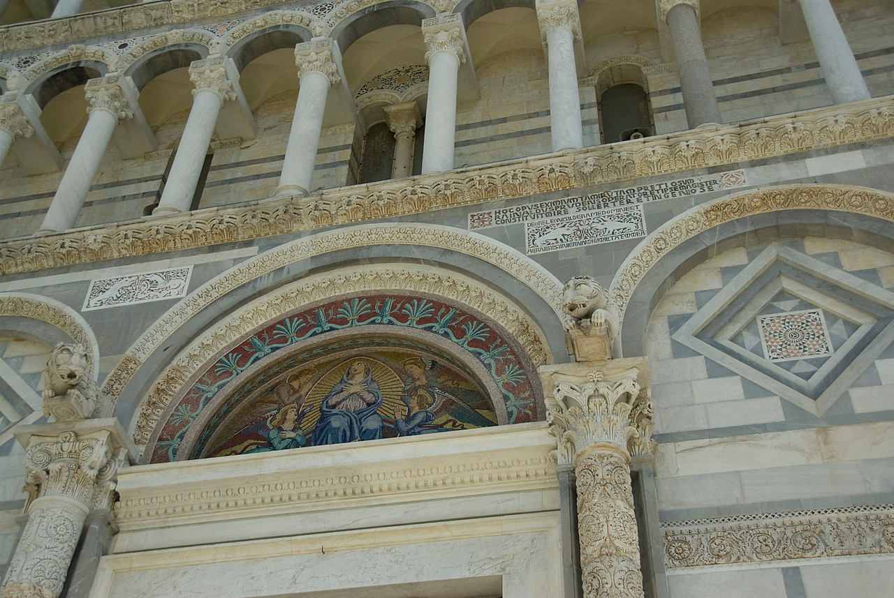 Architectural details on the pillars of the Cathedral of Pisa - Italy