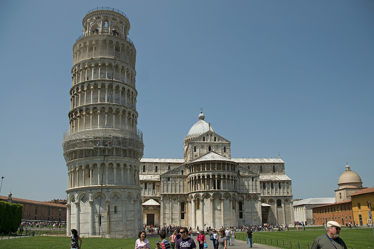 Wide shot of the Leaning Tower of Pisa and Cathedral of Pisa - Italy