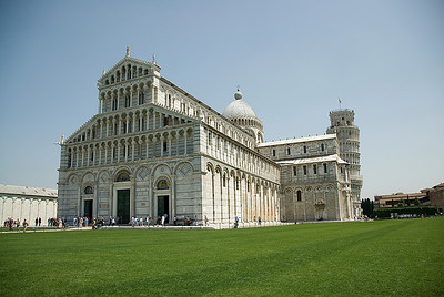 Wide shot of the Cathedral of Pisa in Italy