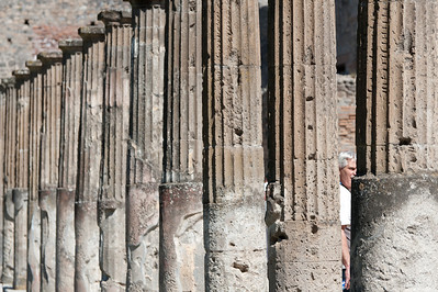 Close up shot of pillars at Pompeii in Italy
