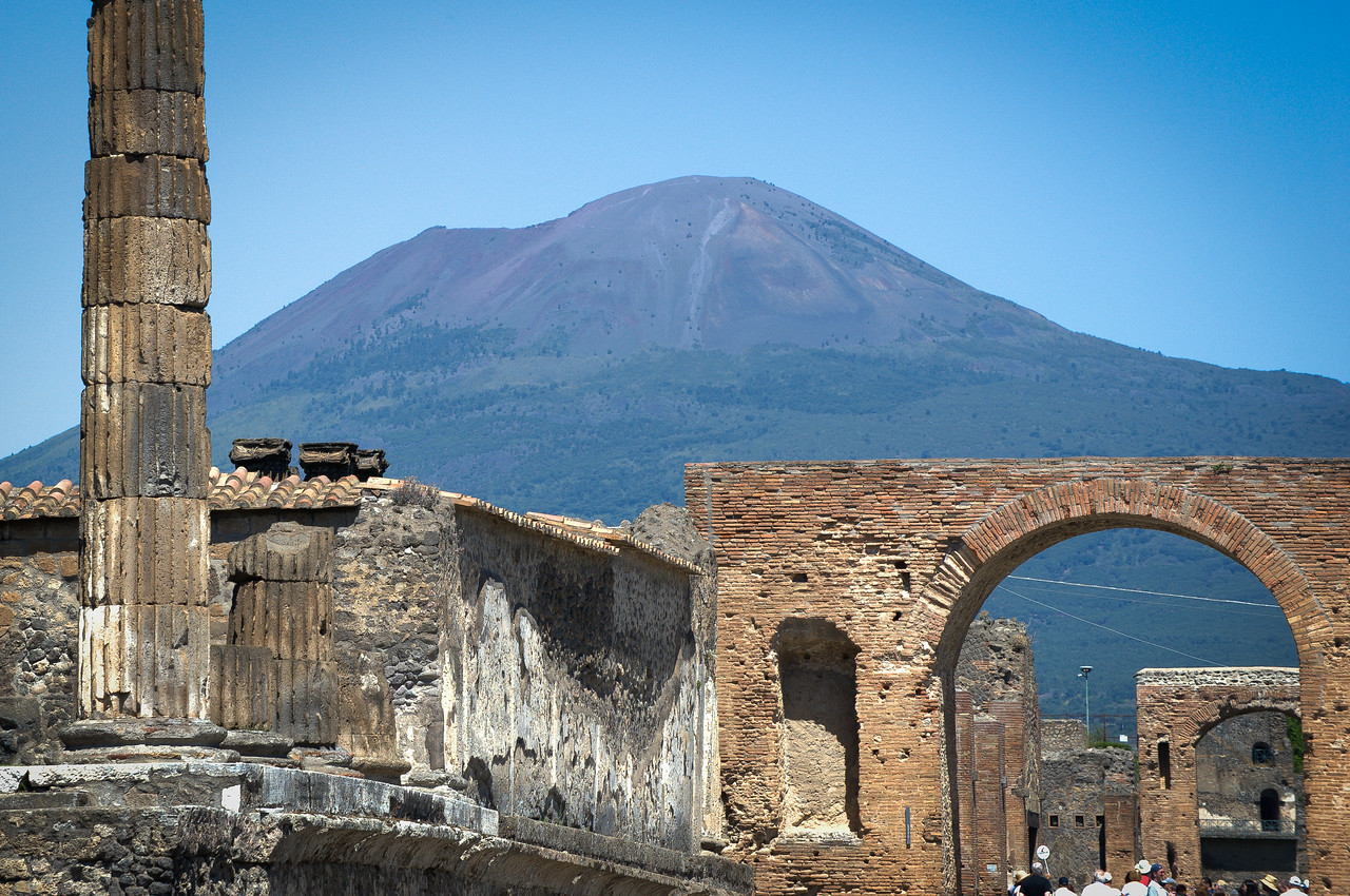 The Temple of Jupiter with Mt. Vesuvius in the distance - Pompeii, Italy