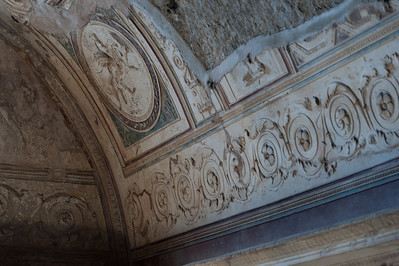 Art details on a ceiling in Pompeii, Italy