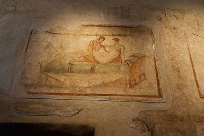 Murals on the wall at Pompeii, Italy