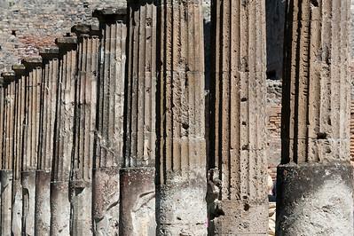 Pillars still standing at Pompeii in Italy