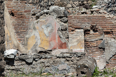 Ruins of an old brick wall in Pompeii, Italy