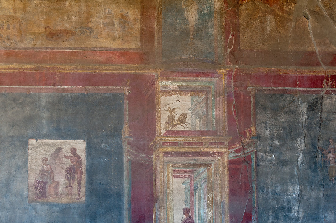 Wide shot of mural on a wall - Pompeii, Italy
