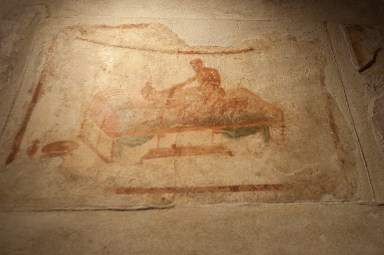 Murals on the wall in Pompeii, Italy