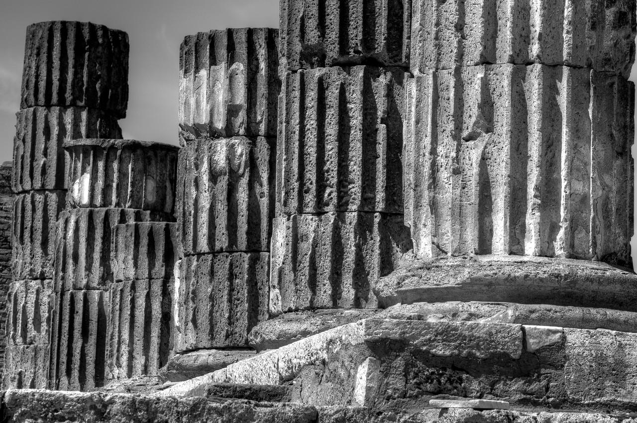 Ruins of pillars in Pompeii in B&W - Italy