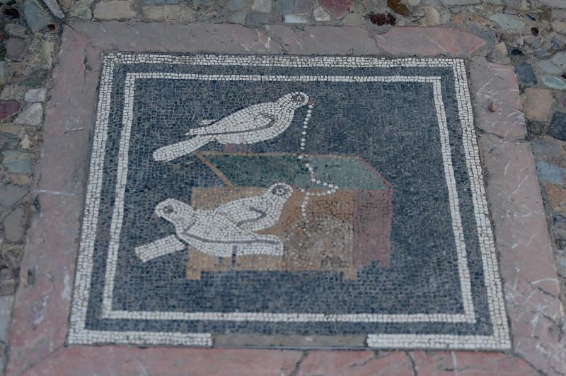 Mosaic on the floor in Pompeii, Italy