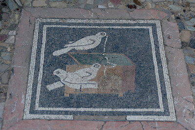 Mosaic on the floor in Pompeii, Italy