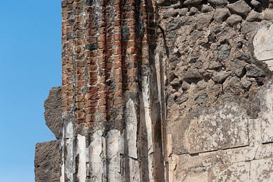 Details of ruins on a pillar in Pompeii, Italy