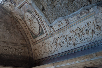 Art details on ceilings in Pompeii, Italy