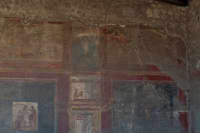 Details of mural on a wall in Pompeii, Italy