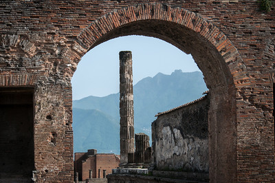 A pillar in the ruins of Pompeii, Italy