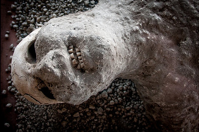 Plaster cast of a man killed in Pompeii, Italy