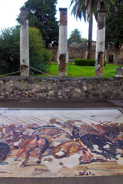 Italy, Ruins of Pompeii, Gladiator Mosaic
