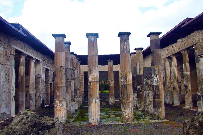 Italy, Ruins of Pompeii, Villa Columns
