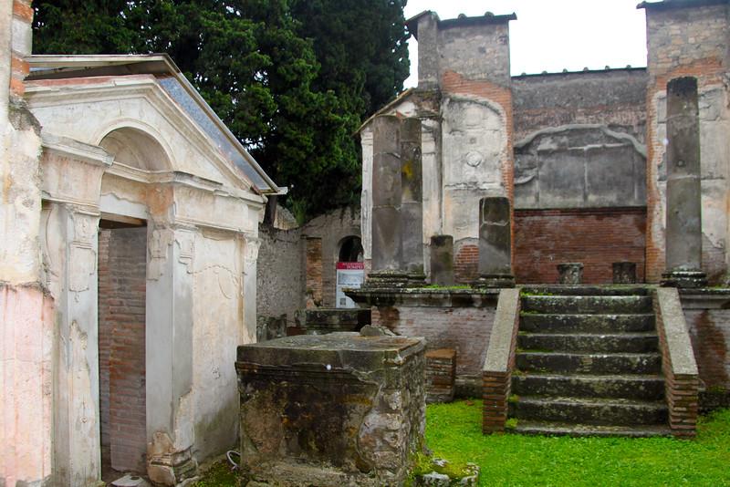 Italy, Ruins of Pompeii, Marble Facade  Stairway Entrance to Villa
