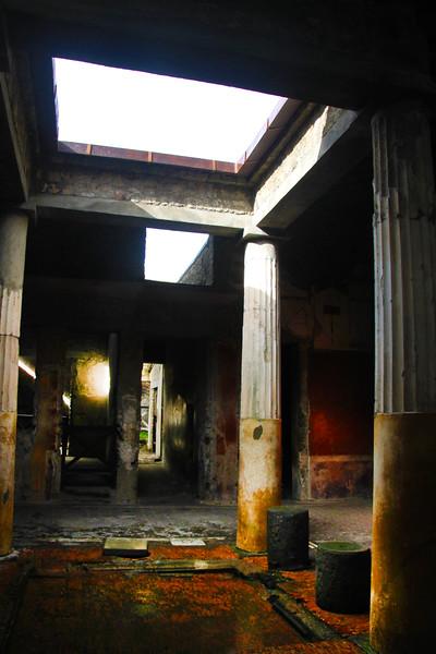Italy, Ruins of Pompeii, Impluvium in Atrium