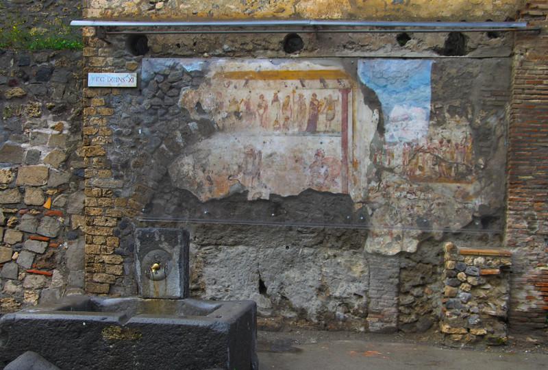 Italy, Ruins of Pompeii, Wall Fresco & Fountain