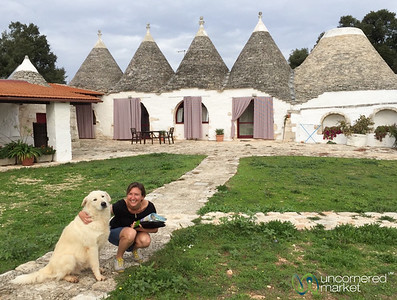 Audrey with her new friend at Masseria Ferri - Itrian Valley, Puglia, Italy