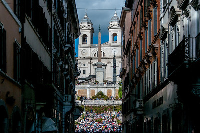 The Church of the Holy Trinity in front of the Spanish Steps - Rome, Italy