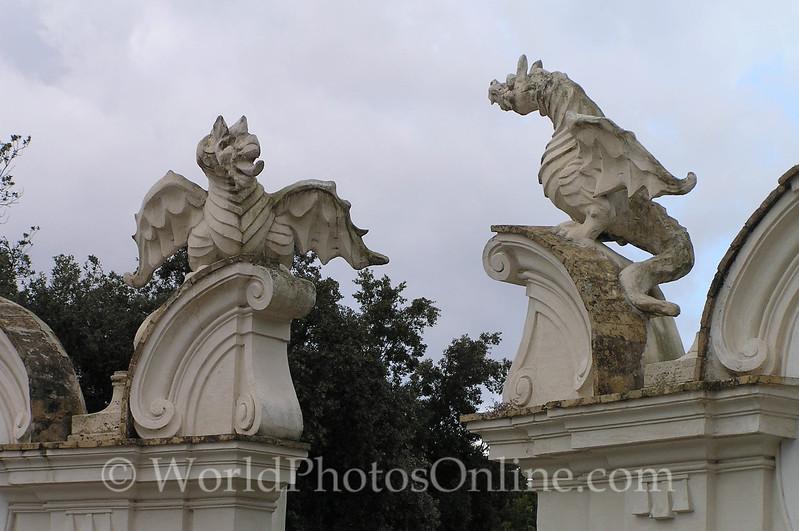 Borghese dragons guarding garden entrance