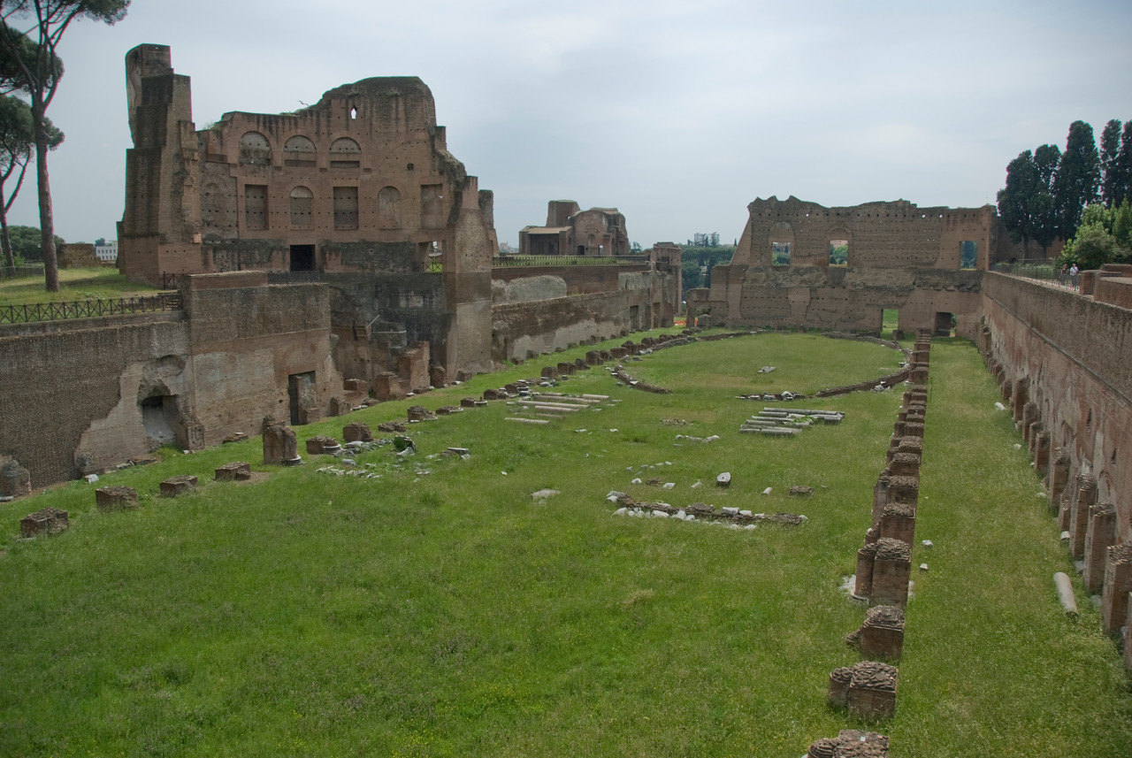 Wide shot of the Emperor's Palace Grounds in Rome, Italy