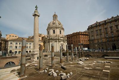 Ruins of old pillars in Roman Forum - Rome, Italy
