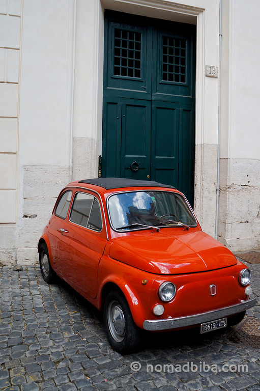 Little red car in Rome