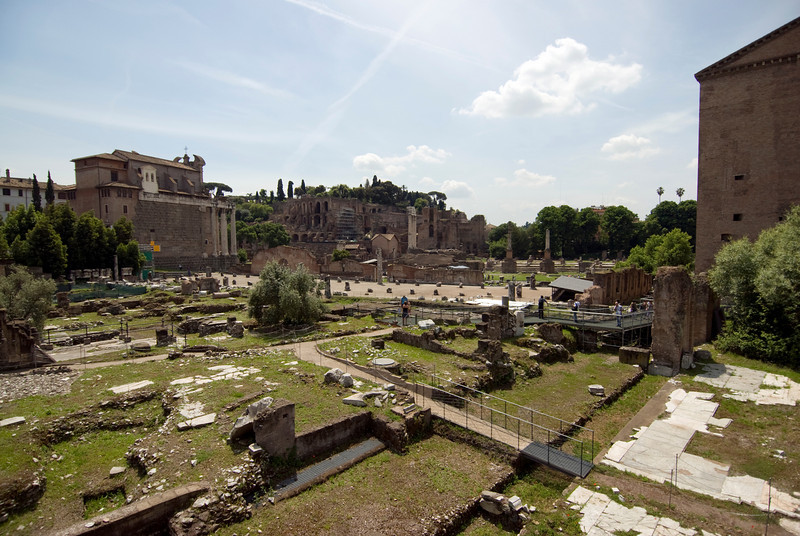 Wide shot of the grounds at the Roman Forum - Rome, Italy