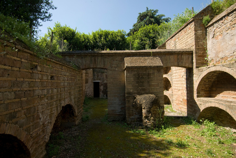 Brick walls and fortress in Rome, Italy