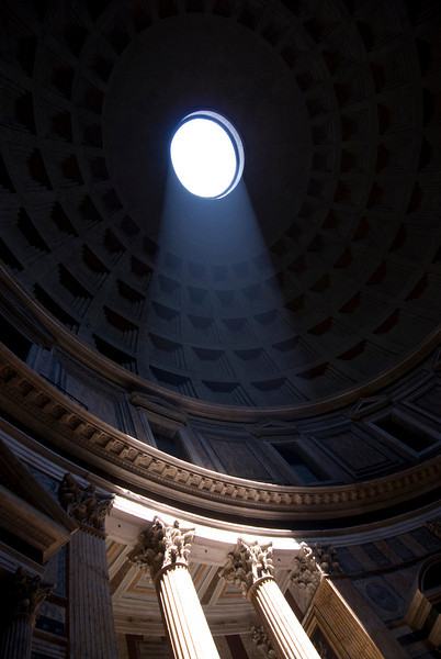 Sunshine streaking through the window in Pantheon - Rome, Italy