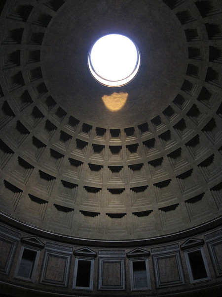 Sunlight through the dome from inside the Pantheon - Rome, Italy